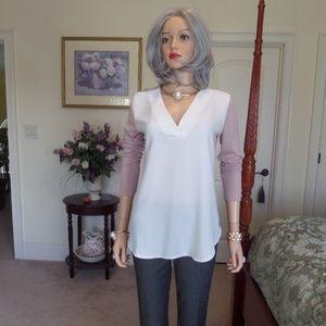 Ann Taylor LOFT Dusty Rose/Ivory V Neck Tunic  XS